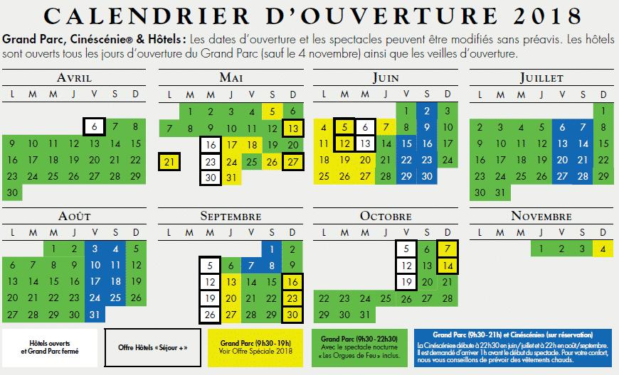 Calendrier 2018 Puy du Fou