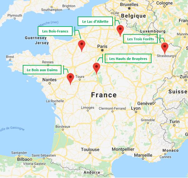 Carte France Domaines Center Parcs