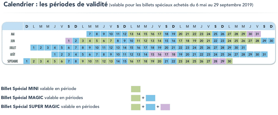 Calendrier billet spécial mini magic super magic