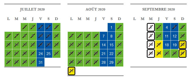 Calendrier Cinéscénie 2020