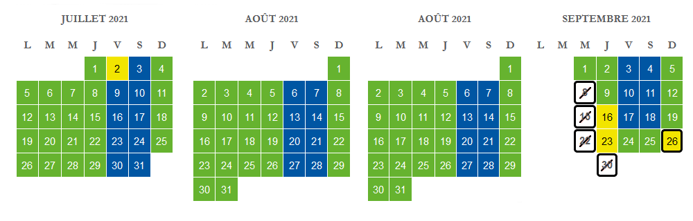 Calendrier Cinéscénie 2021